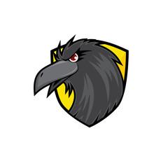 Crow Head on Yellow Shield
