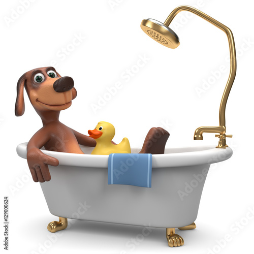 3d Hund Entspannt Sich In Der Badewanne Mit Badeente Stock Photo