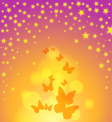 abstract background with stars, butterflys and light effects