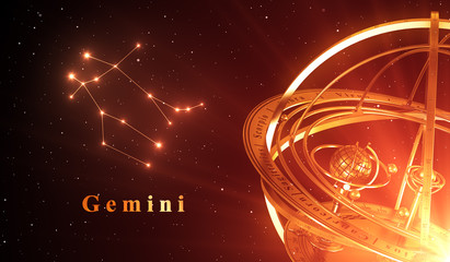 Zodiac Constellation Gemini And Armillary Sphere Over Red Background