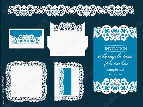 set of design elements for laser cutting vector wedding invitation