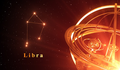 Zodiac Constellation Libra And Armillary Sphere Over Red Background