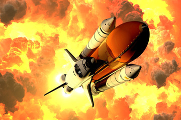 Fotomurales - Space Shuttle Takes Off In The Clouds Of Fire