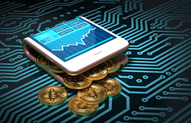 Concept Of Digital Wallet And Bitcoins On Printed Circuit Board. Bitcoins Spill Out Of The Pink Curved Smartphone.
