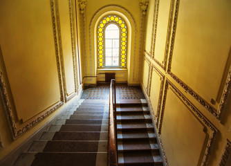 Staircase in residential building entrance with old design