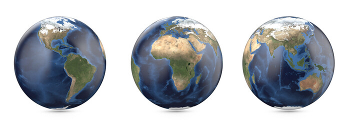Planet earth without cloud. Showing America, Europe, Africa, Asia, Australia continent.  3D render isolated on white background. Elements of this image furnished by NASA