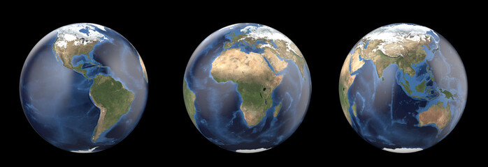 Planet earth without cloud. Showing America, Europe, Africa, Asia, Australia continent.  3D render isolated on black background. Elements of this image furnished by NASA