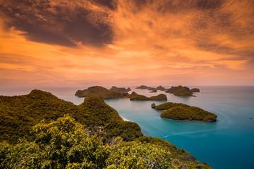 THAILAND, Jule - 10, 2014. Viewpoint Sunset on the azure beach Mu Ko Ang Thong National Marine Park