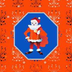 portrait of a Santa Claus posing near bag gifts