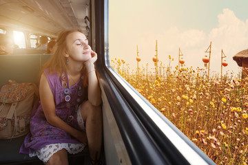 Enjoying travel. Young pretty woman traveling by the train sitting near the window