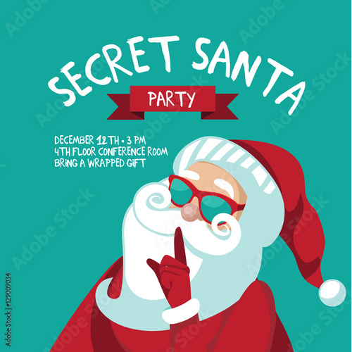 Cartoon Secret Santa Christmas party background template with Santa ...