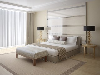 Modern bright and spacious bedroom with stylish rear background, and comfortable bed.