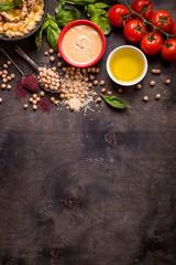 Hummus ingredients background