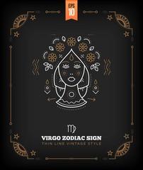 Vintage thin line Virgo zodiac sign label. Retro vector astrological symbol, mystic, sacred geometry element, emblem, logo. Stroke outline illustration.