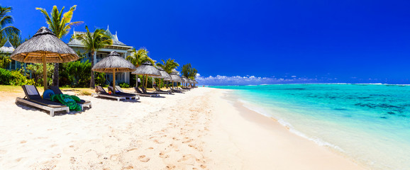Poster de jardin Tropical plage Serene tropical holidays - perfect white sandy beaches of Mauritius island