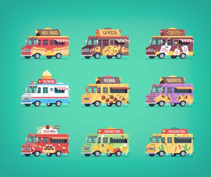 Set of flat food truck icons. Modern design concept compositions for food delivery service vehicles.