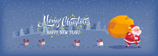 Happy Merry Christmas vector illustration Greeting card poster