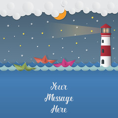 Night background with boats and Lighthouse in winter, vector illustration.