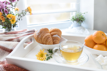 Cup of tea, croissant, chrysanthemum flowers and tangerines in tray on the windowsill. Cozy home concept. Coloring and processing photo