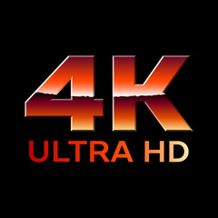 4k Ultra HD format logo with shiny chrome letters