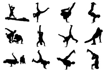 Silhouettes of breakdancers. Hip-hop male dancers vector silhouette isolated on white background