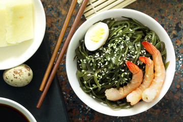 Delicious fresh seaweed salad. Close up