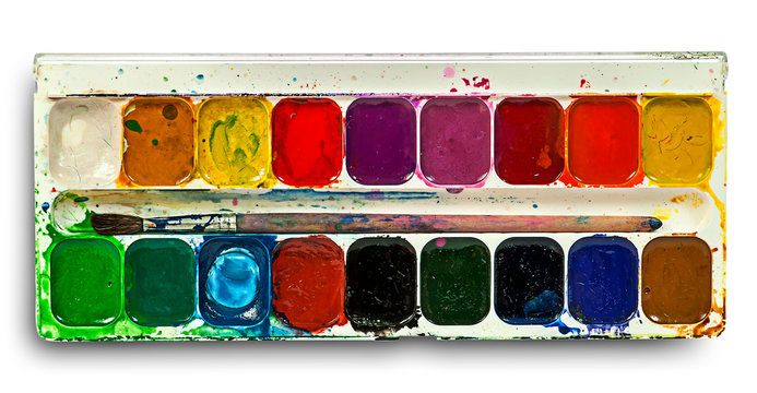 Watercolor paints set and brush