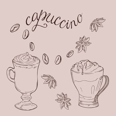 Set of cups with cappuccino or cocoa, anise stars and coffee beans. Hand lettering. Hand drawn vector illustration.