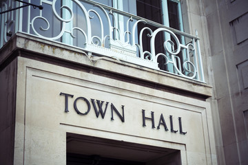 Town hall sign and balcony at local government office