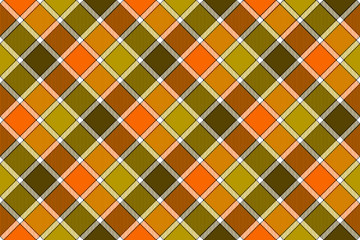 Brown green orange diagonal check seamless pattern