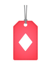 Isolated label with  the  diamond  poker playing card sign