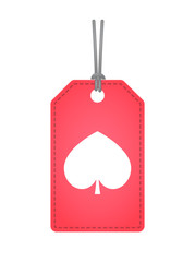 Isolated label with  the  spade  poker playing card sign