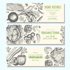Set of banners with hand-drawn vegetables. Vector illustration for vegetables market. Vertical banner collection. Vintage elements for design.