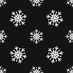 Snowflake simple seamless pattern. White snow on black background. Abstract wallpaper, wrapping decoration. Symbol of winter, Merry Christmas holiday, Happy New Year celebration Vector illustration