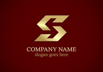 shape letter s gold logo