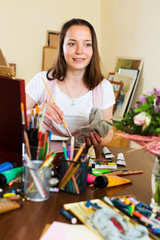 Young girl creates a new picture