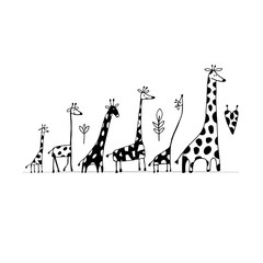 Giraffes family, sketch for your design