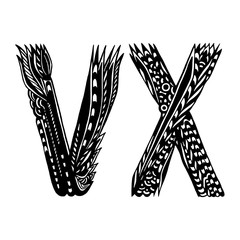 Decorative Hand-Drawn Letters - Ethnic Alphabet - V And X
