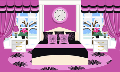 Bedroom interior vector illustration. Room with furniture - bed, sofa, carpet, window, lamp, plant, clock, pillows, curtains, bedside table. Flat style. Bedroom in black and pink