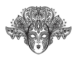 Abstract beautiful mask of lace. Vector illustration
