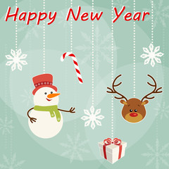 Christmas and New Year's card with snowman and deer