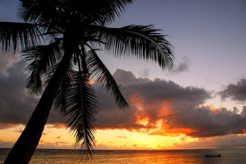 Colorful sunrise  on the beach in Lavena village in Taveuni Isla
