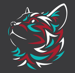 Tribal face cat tattoo coloring vector logo design stock