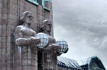 Fragment of facade of Helsinki main railway station in winter day