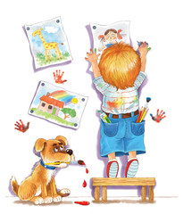 A cute boy hanging his drawings on the wall. Illustration for children