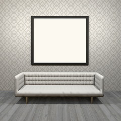 3d interior rendering of living room scene with white modern sofa, blank black picture frame and wallpaper background