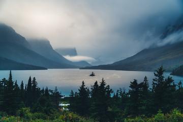 Foggy Wild Goose Island. Glacier National Park, Montana
