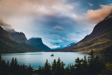 Wall Mural - Wild Goose Island under colorful clouds. Glacier National Park, Montana