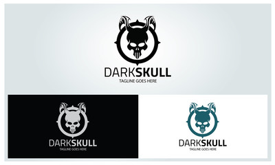 Dark skull logo design template ,Vector illustration