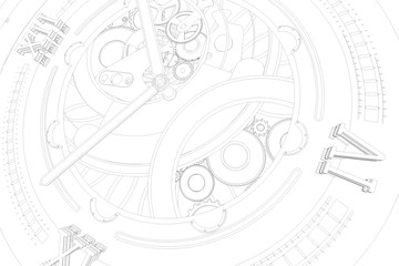 Abstaract 3d rendering illustration of watches with gears. Sketch looking outline lines.